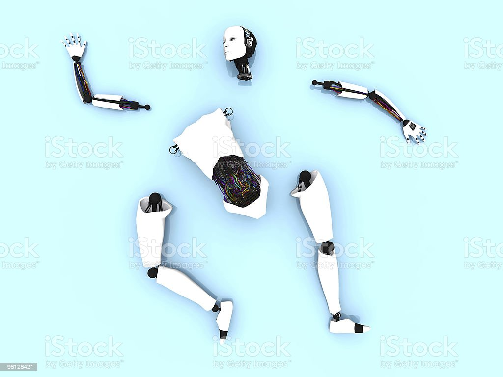 Parts of a female robot on the floor. royalty-free stock photo