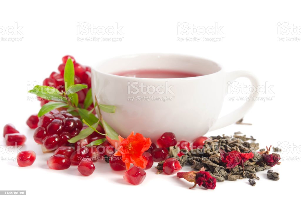 Parts Of A Pomegranate With Pomegranate Seeds And Leaves Flowers Dry Tea Of Carcade And Full Cup Of Tea Isolated On White Background Stock Photo Download Image Now Istock