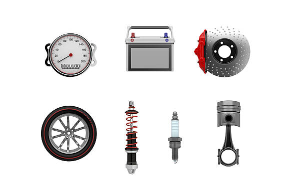 Parts Of Car 3D illustration piston stock pictures, royalty-free photos & images