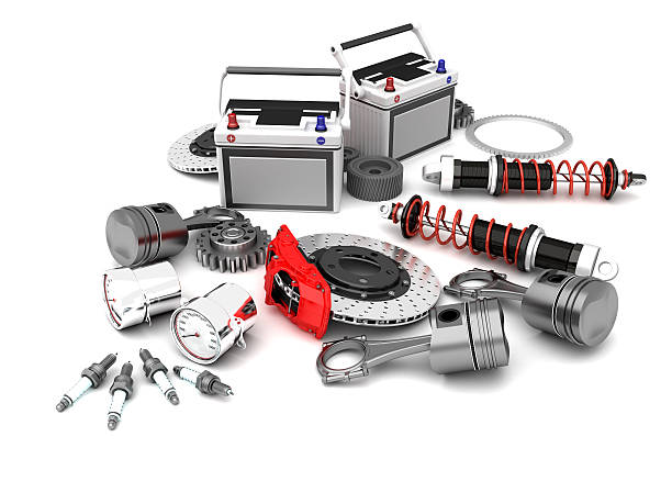 Parts Of Car 3D illustration machine part stock pictures, royalty-free photos & images