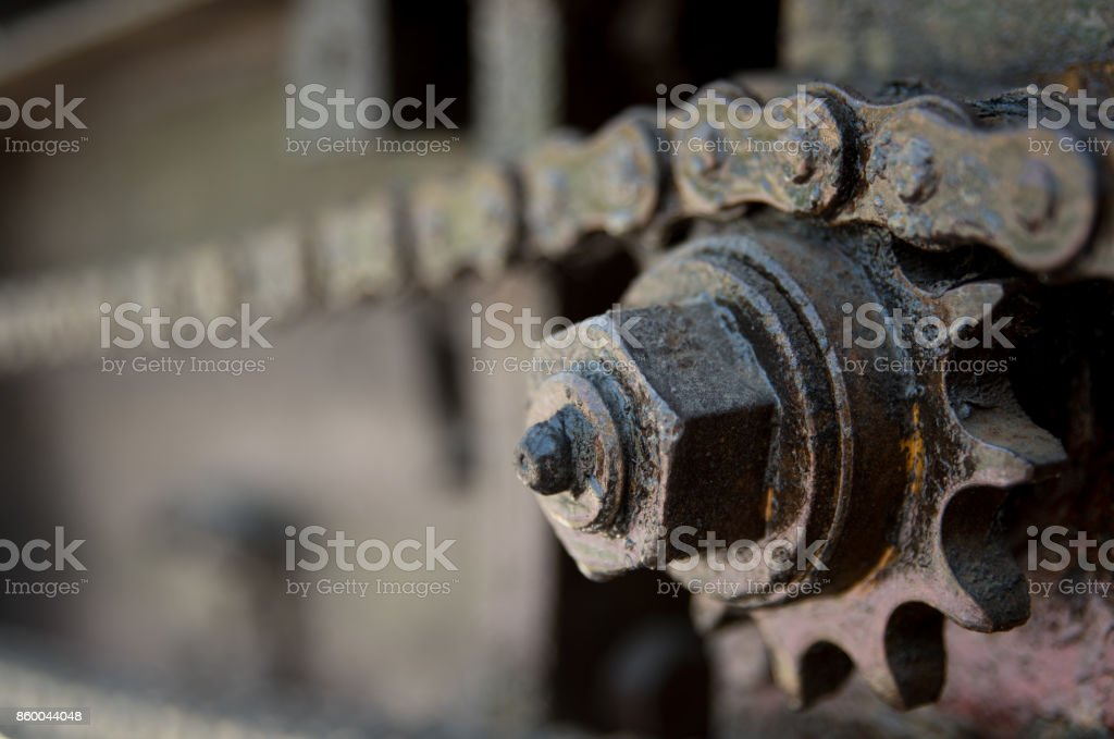 parts of chain and gear. stock photo