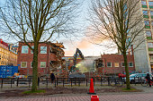 Gothenburg, Sweden - March 02 2020: Parts of Handelshögskolan being demolished..