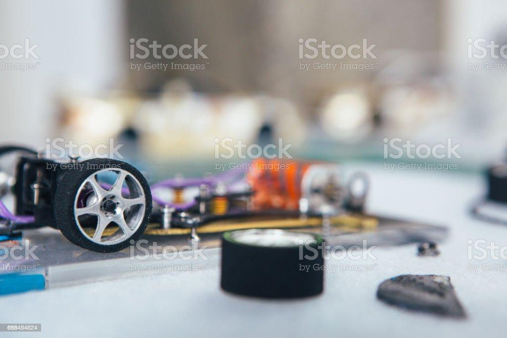 Peças do carro de slot - foto de acervo