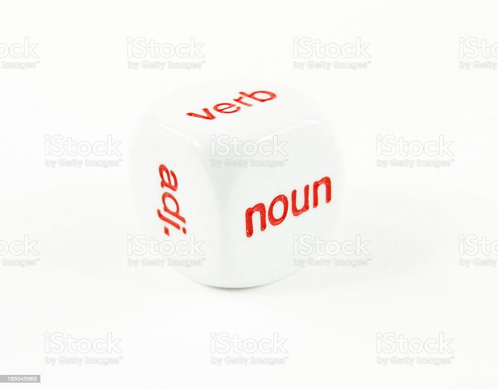 Parts of Speech- noun, verb adj. on a cube stock photo