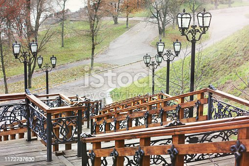 1154986671 istock photo Parts of the stairs. Staircase in the park 1172737630