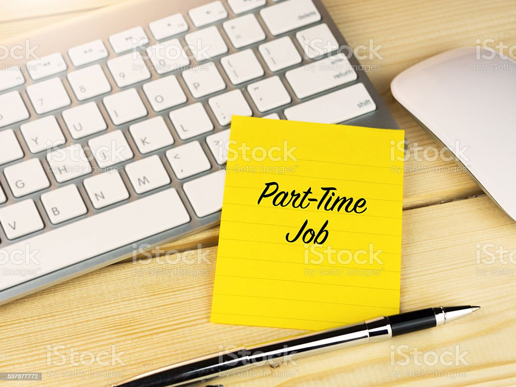 Part-Time job on sticky note on work desk stock photo