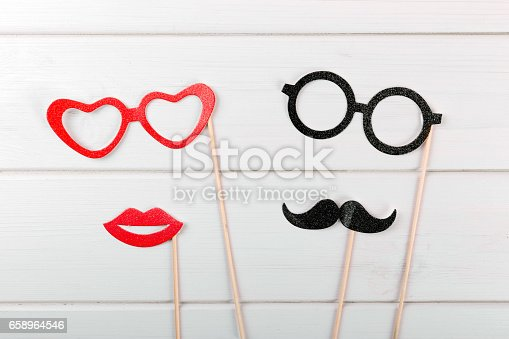 istock party accessories on wooden table 658964546