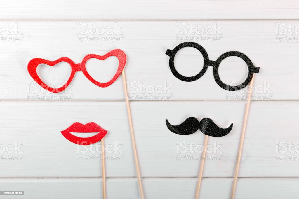 party accessories on wooden table stock photo