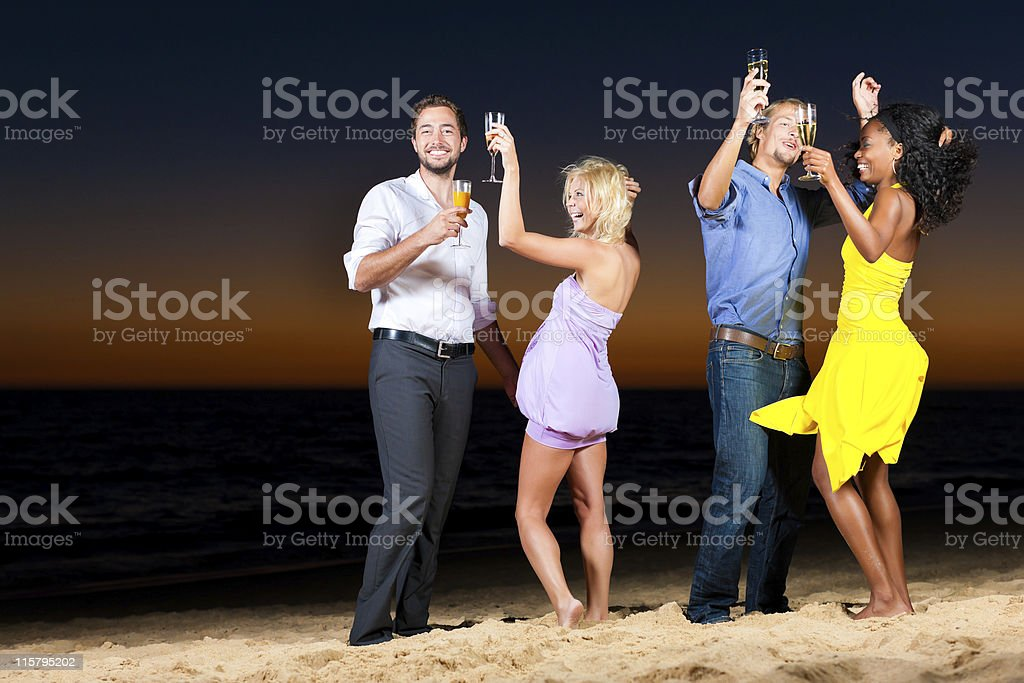 Party and dancing at the beach royalty-free stock photo