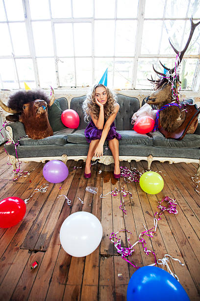 Party Animals and Beautiful Young Woman stock photo