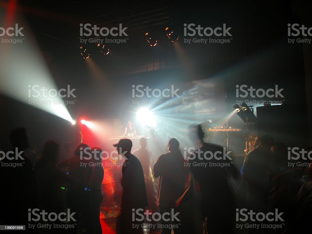 Party at a techno party. stock photo