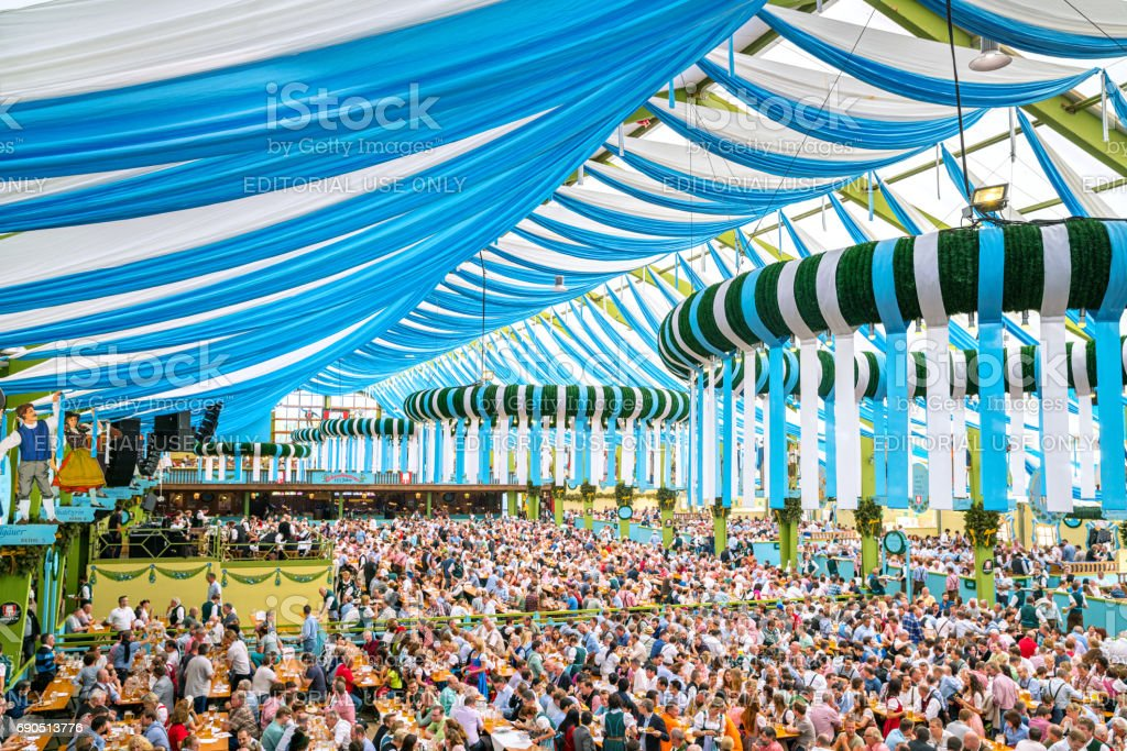 Party at the Octoberfest in Munich, Germany stock photo