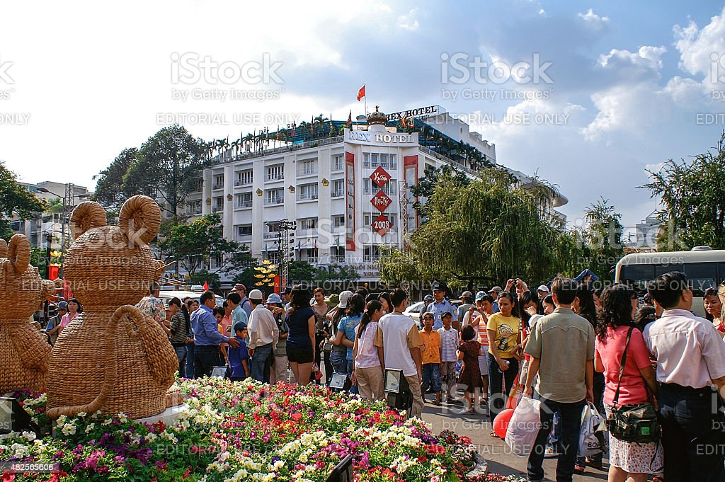 Party atmosphere at TET-festivities in Ho Chi Minh City stock photo