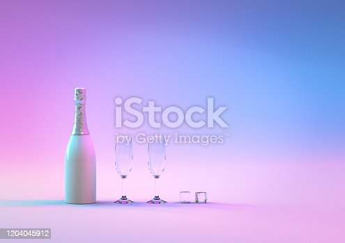 873264516 istock photo Party background. Creative design with realistic 3d festive objects, bottle champagne wine with glass. 1204045912