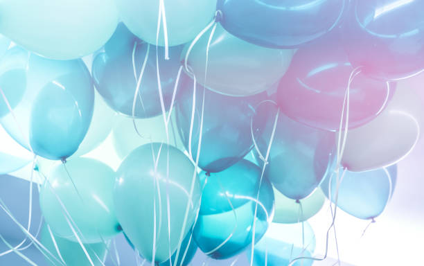 Party background Party background, abstract festive background of a bunch of blue air balloons, happy birthday holiday decoration celebration stock pictures, royalty-free photos & images