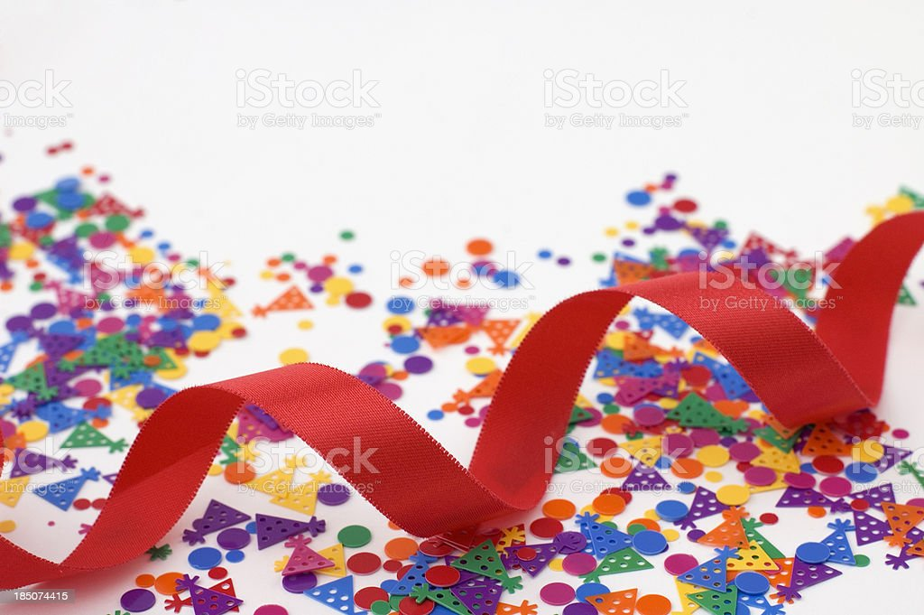 Party Background With  Ribbon and Confetti royalty-free stock photo