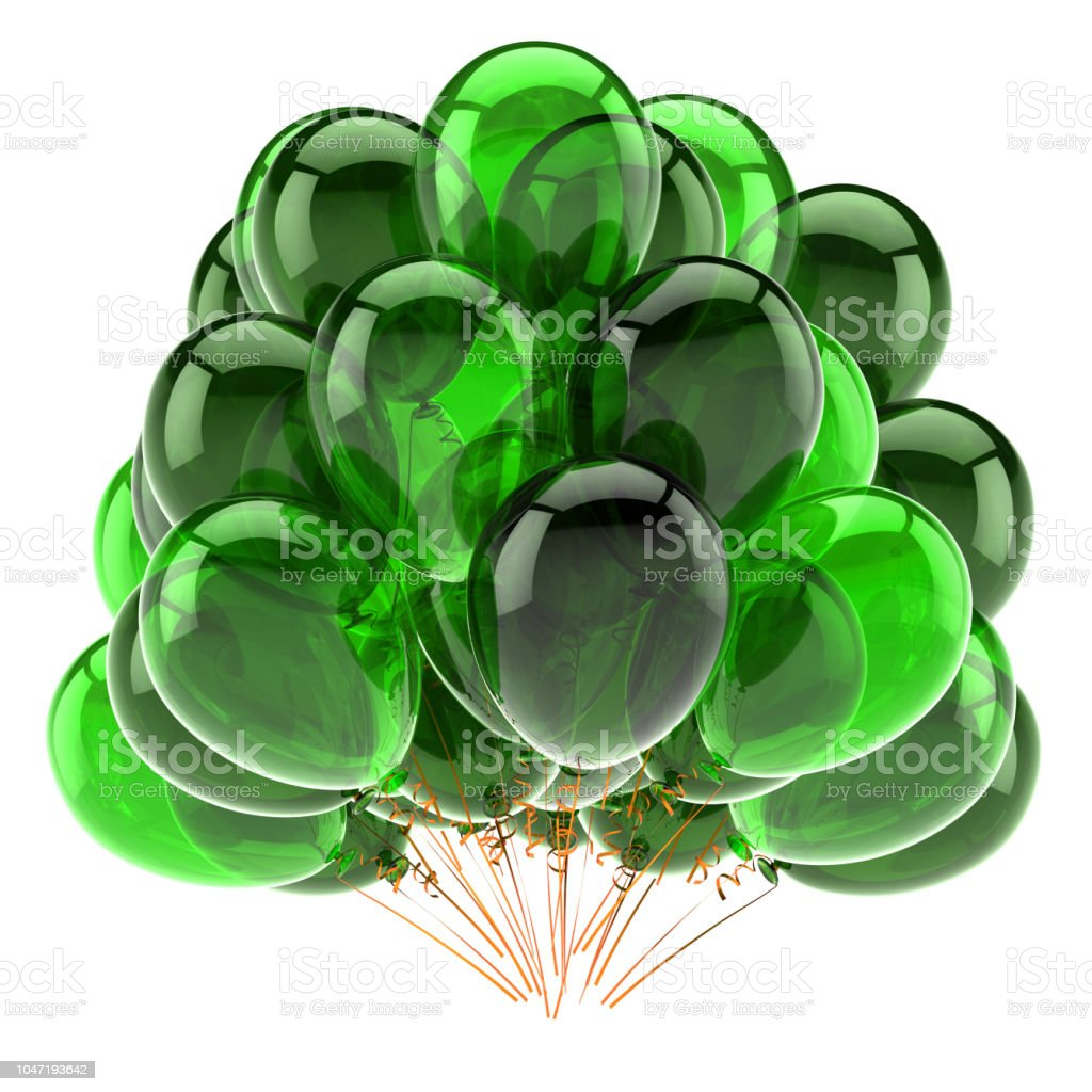 party balloon bunch green translucent classic stock photo