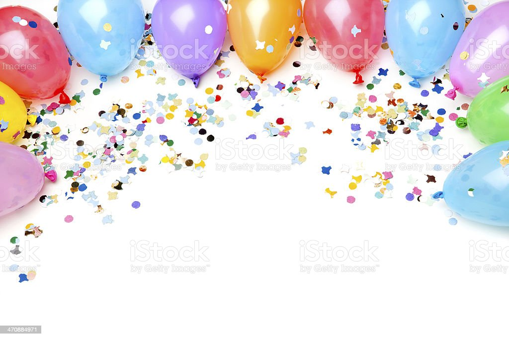 Party Balloons and Confetti, Isolated on White stock photo