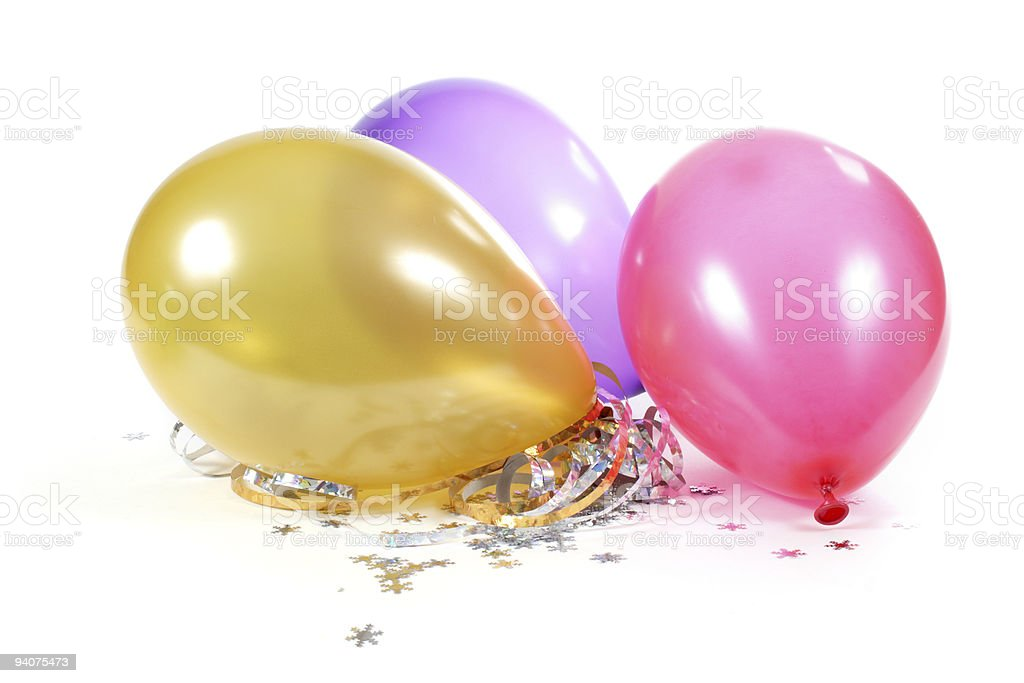 Party balloons and confetti on white royalty-free stock photo