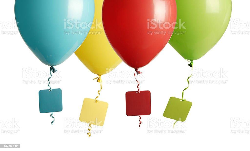 party balloons blank tag royalty-free stock photo