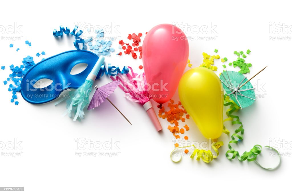 Party: Balloons, Blowers, Streamers, Confetti and Mask Isolated on White Background stock photo