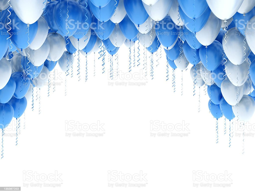 Party Balloons Frame Isolated on White stock photo