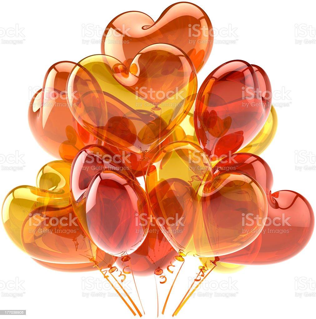 Party Balloons Happy Birthday Decoration Heart Shaped Orange Stock