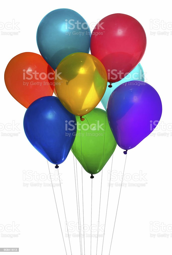 Party balloons in various colors on a white background royalty-free stock photo