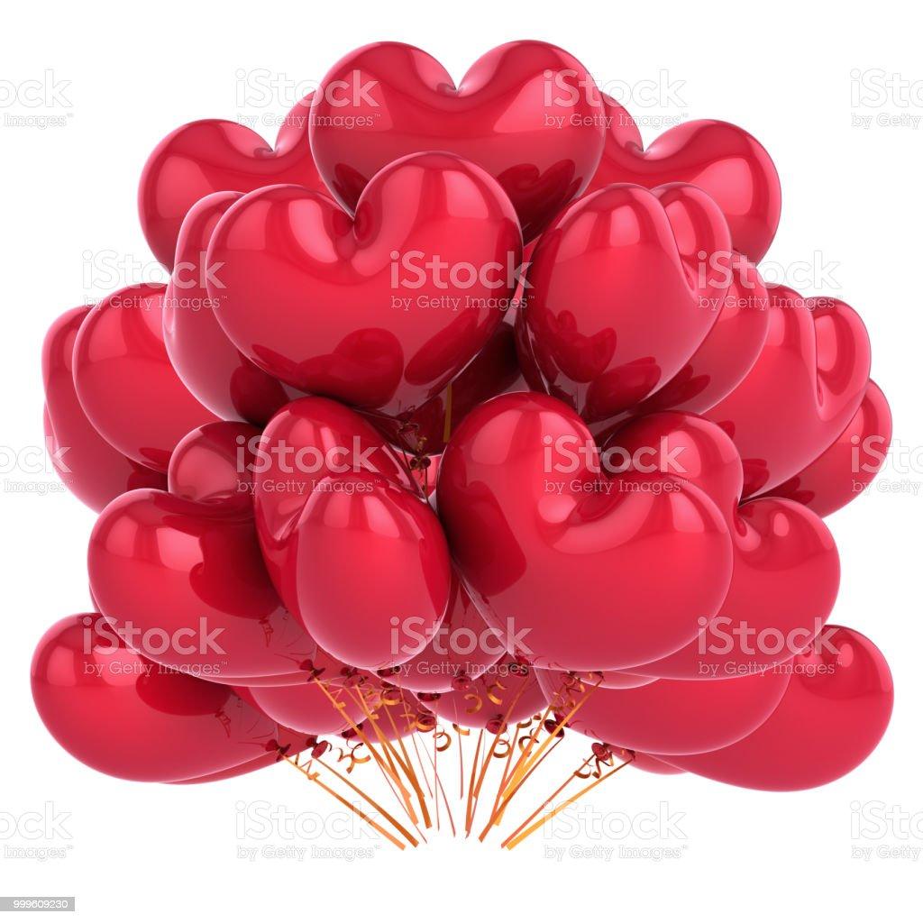 ballons de fête en forme de cœur rouge de lamour bouquet de ballon