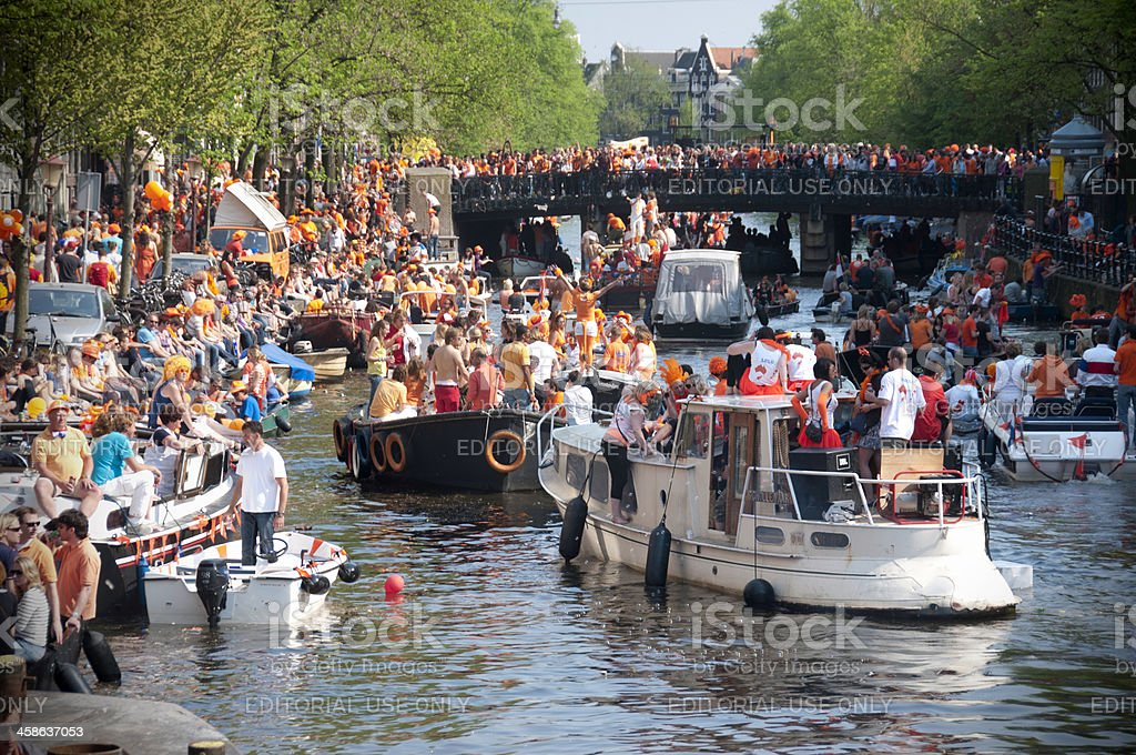 Party Boats on Queen's Day (Amsterdam, Netherlands) stock photo
