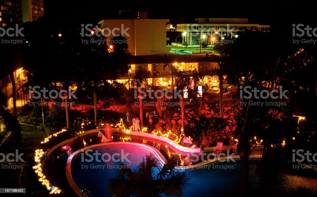 party by the pool stock photo