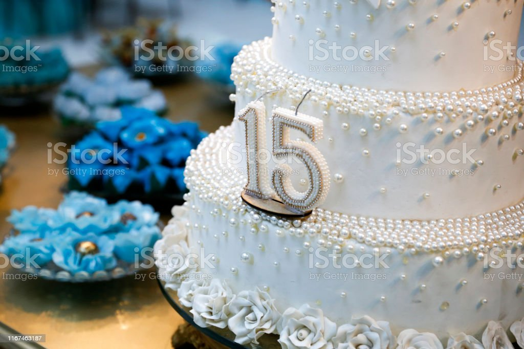 Super Party Cake 15 Year Old Birthday Cake Fifteen Years Old Stock Photo Funny Birthday Cards Online Fluifree Goldxyz