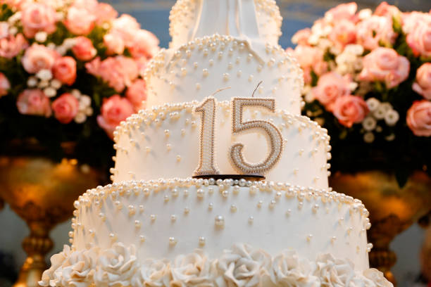 Party cake, 15 year old birthday cake, fifteen years old stock photo