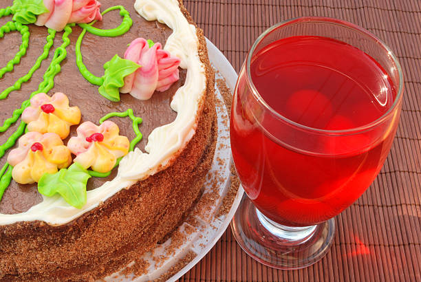 party cake and home-made juice stock photo