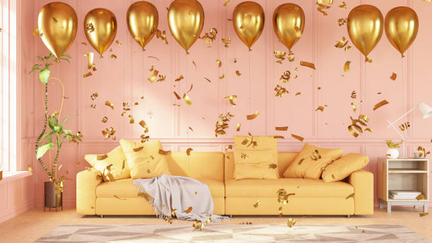 Party Concept Balloons in Living Room stock photo