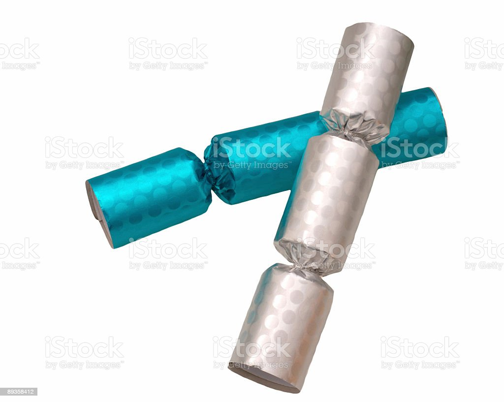 Party Crackers Silver and Blue royaltyfri bildbanksbilder