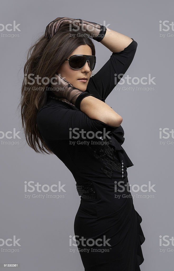 party dancer in black dress royalty-free stock photo