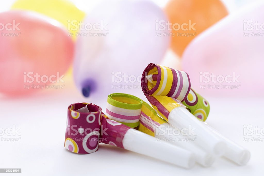 Party Decoration With Balloons and Streamers stock photo