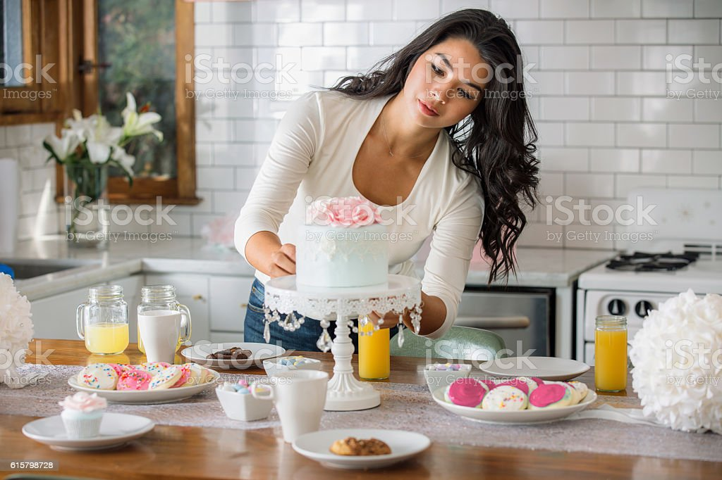 Party design catering stylist home kitchen baking preparing set-up table stock photo