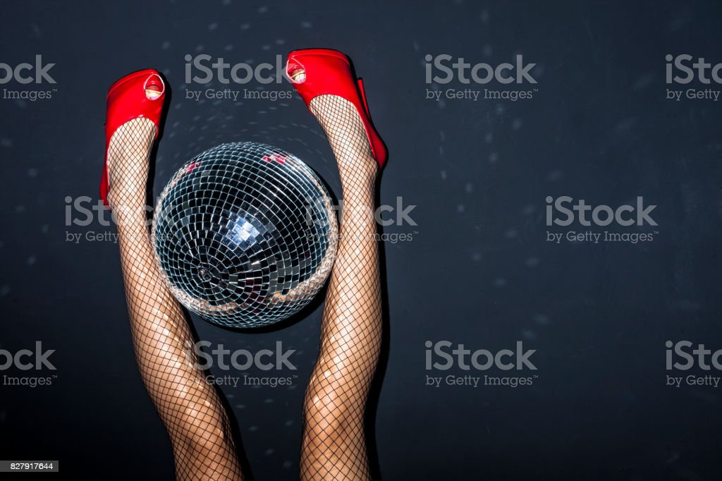 Party detail with woman legs stock photo