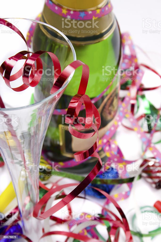 Party drinks with streamers royalty-free stock photo