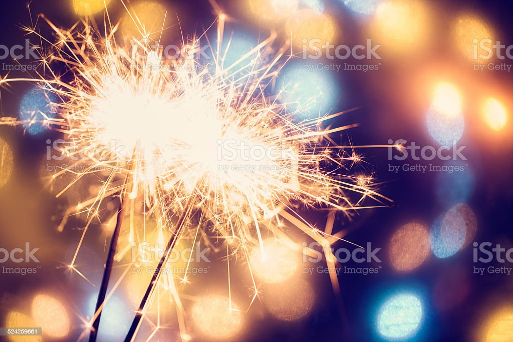 Party Feeling with Sparklers stock photo