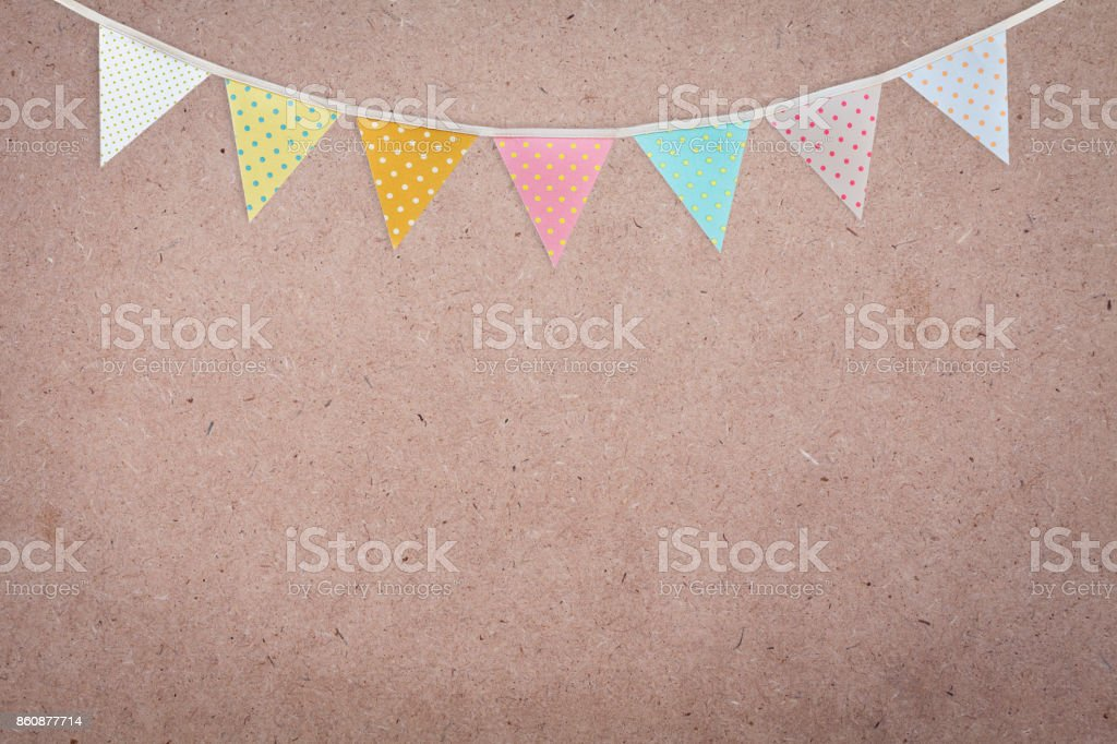 Party flag on brow card board background stock photo