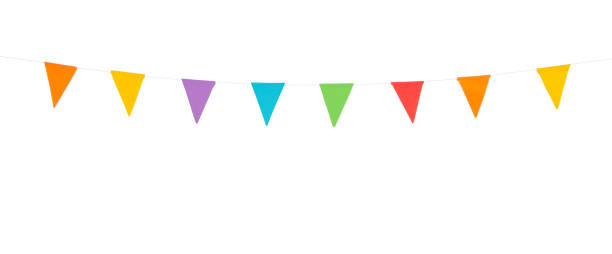 party flags isolated on a white background - foto de acervo