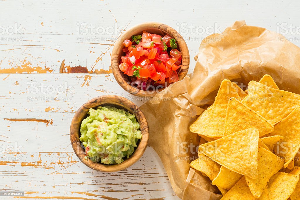 Party food - nachos with salsa and guacamole stock photo