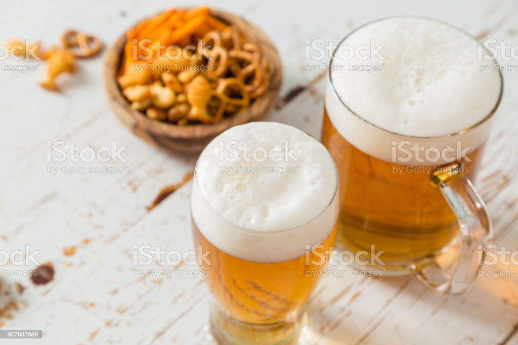 Party food - nbeer and snacks stock photo
