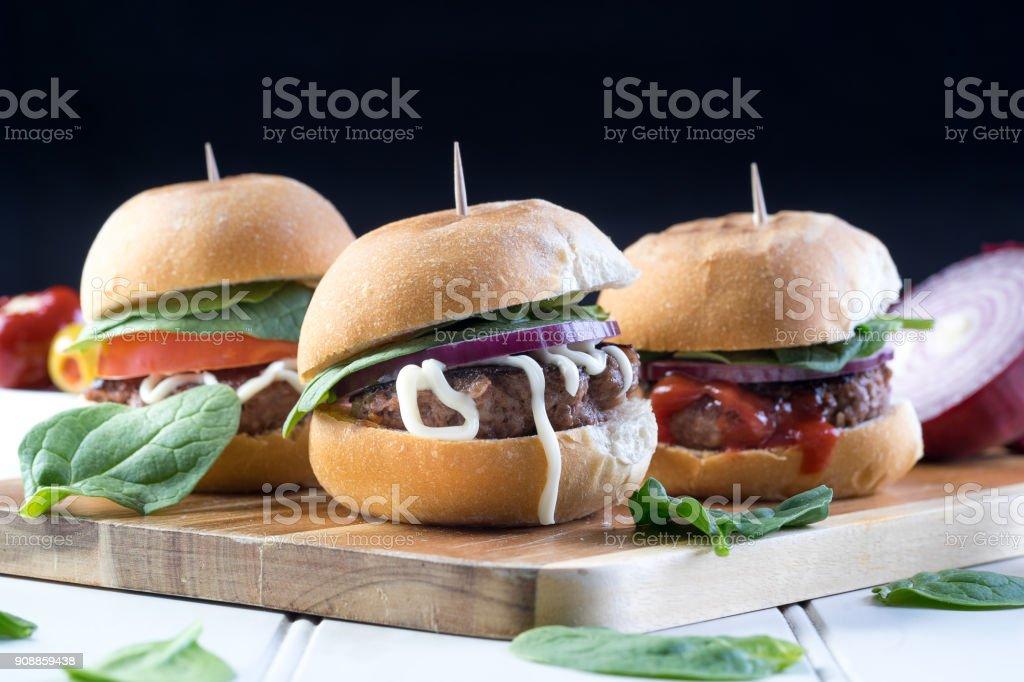 party food sliders burger beef beer stock photo