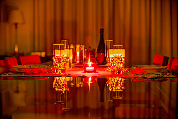 Party for 2 table set for romantic occasion table for two stock pictures, royalty-free photos & images