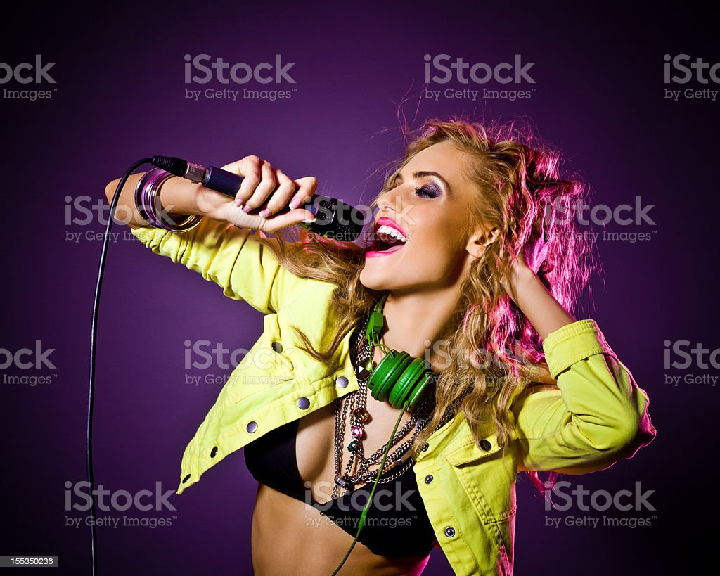 Party Girl singing stock photo