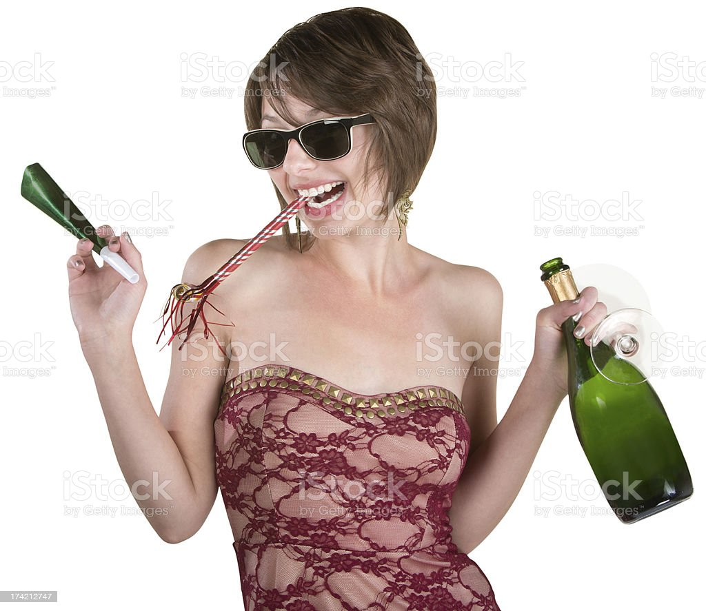 Party Girl with Wine and Kazoo stock photo